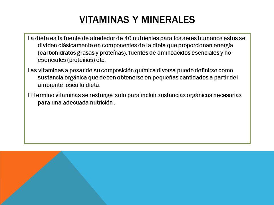 VITAMINAS Y MINERALES La dieta es la fuente de alrededor de 40 nutrientes para los seres humanos estos se dividen clásicamente en componentes de la dieta que proporcionan energía (carbohidratos grasas y proteínas), fuentes de aminoácidos esenciales y no esenciales (proteínas) etc.