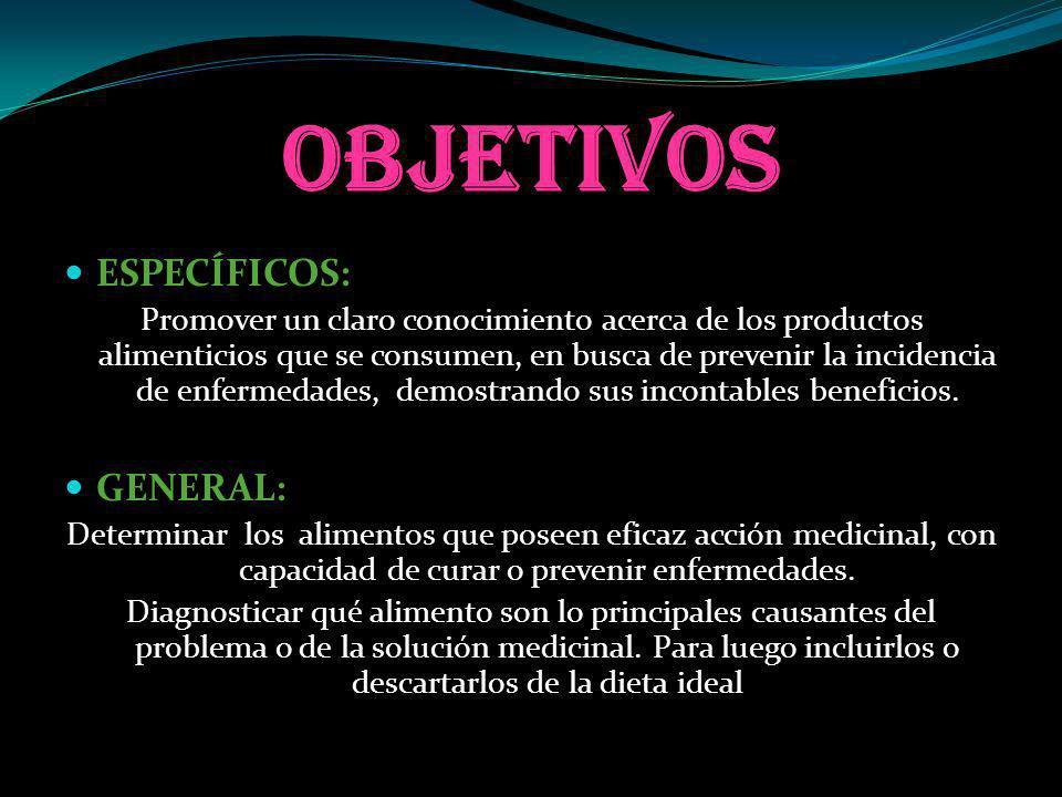 OBJETIVOS ESPECÍFICOS: ESPECÍFICOS: Promover un claro conocimiento acerca de los productos alimenticios que se consumen, en busca de prevenir la incid