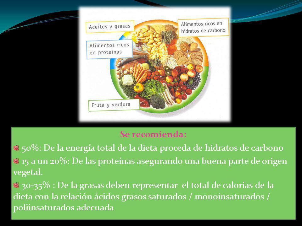 Se recomienda: 50%: De la energía total de la dieta proceda de hidratos de carbono 15 a un 20%: De las proteínas asegurando una buena parte de origen