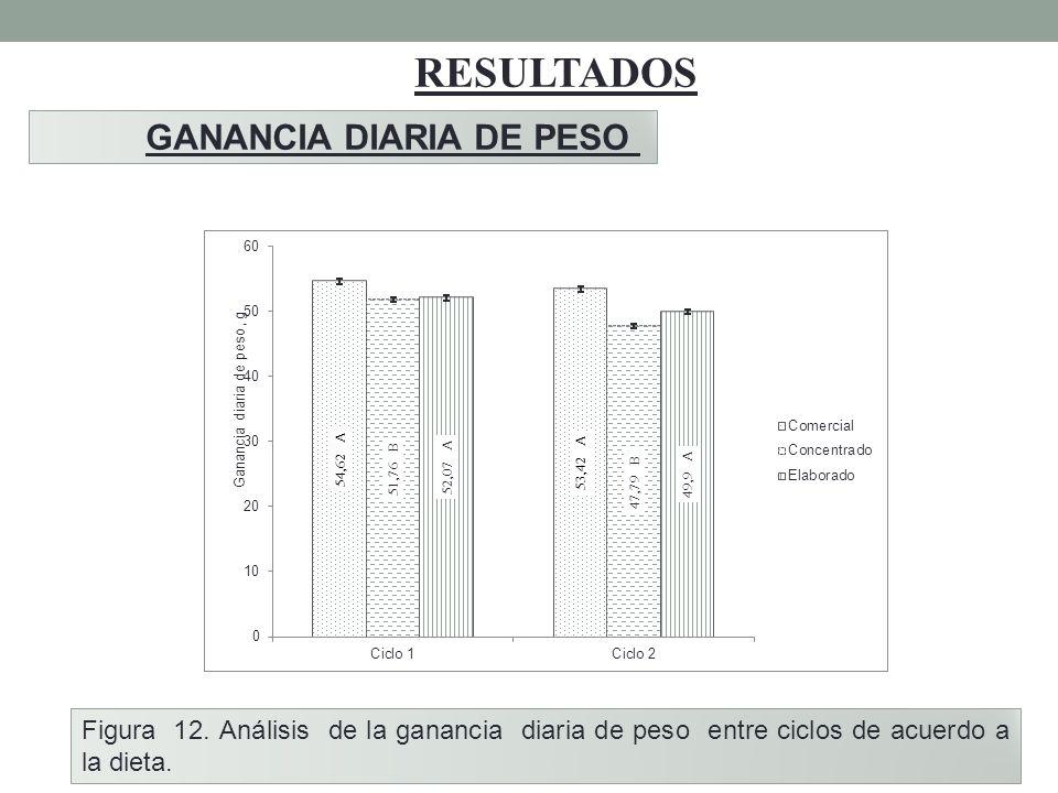 RESULTADOS GANANCIA DIARIA DE PESO Figura 12. Análisis de la ganancia diaria de peso entre ciclos de acuerdo a la dieta.