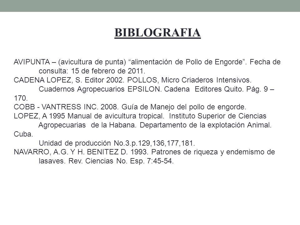 BIBLOGRAFIA AVIPUNTA – (avicultura de punta) alimentación de Pollo de Engorde. Fecha de consulta: 15 de febrero de 2011. CADENA LOPEZ, S. Editor 2002.