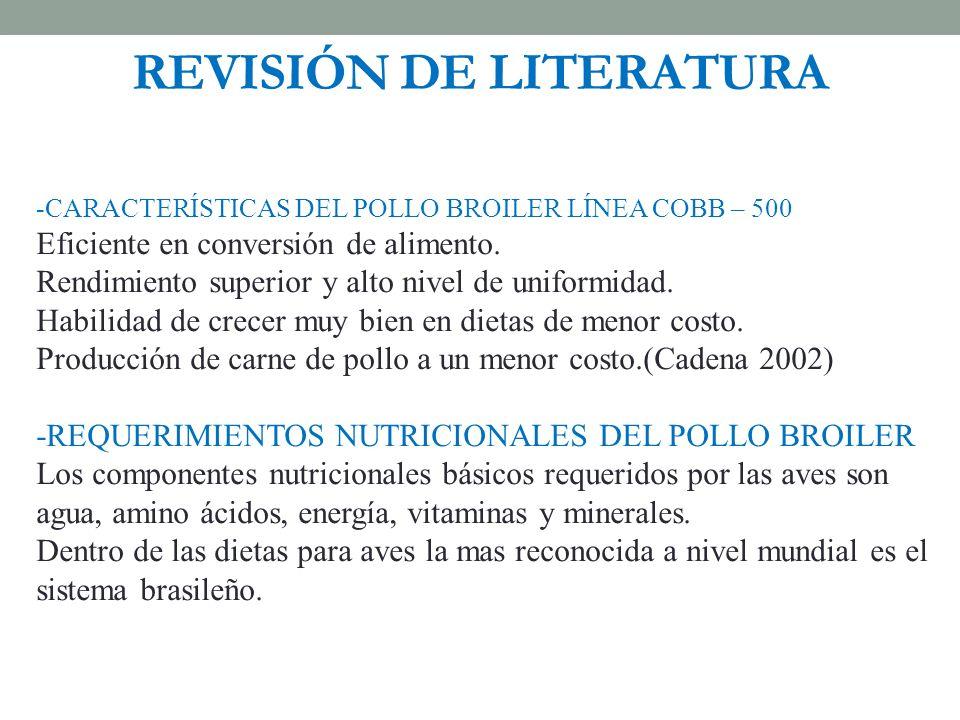 REVISIÓN DE LITERATURA -CARACTERÍSTICAS DEL POLLO BROILER LÍNEA COBB – 500 Eficiente en conversión de alimento. Rendimiento superior y alto nivel de u