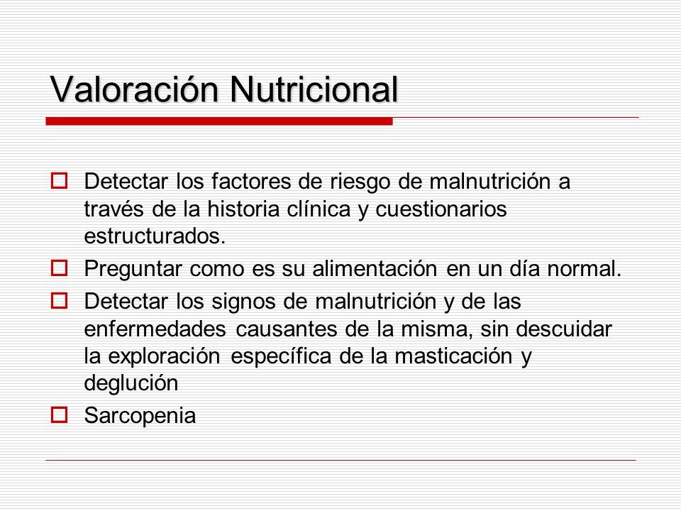Valoración Nutricional Detectar los factores de riesgo de malnutrición a través de la historia clínica y cuestionarios estructurados. Preguntar como e