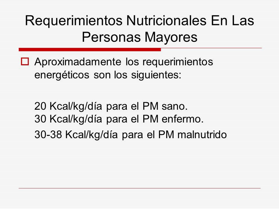 Requerimientos Nutricionales En Las Personas Mayores Aproximadamente los requerimientos energéticos son los siguientes: 20 Kcal/kg/día para el PM sano