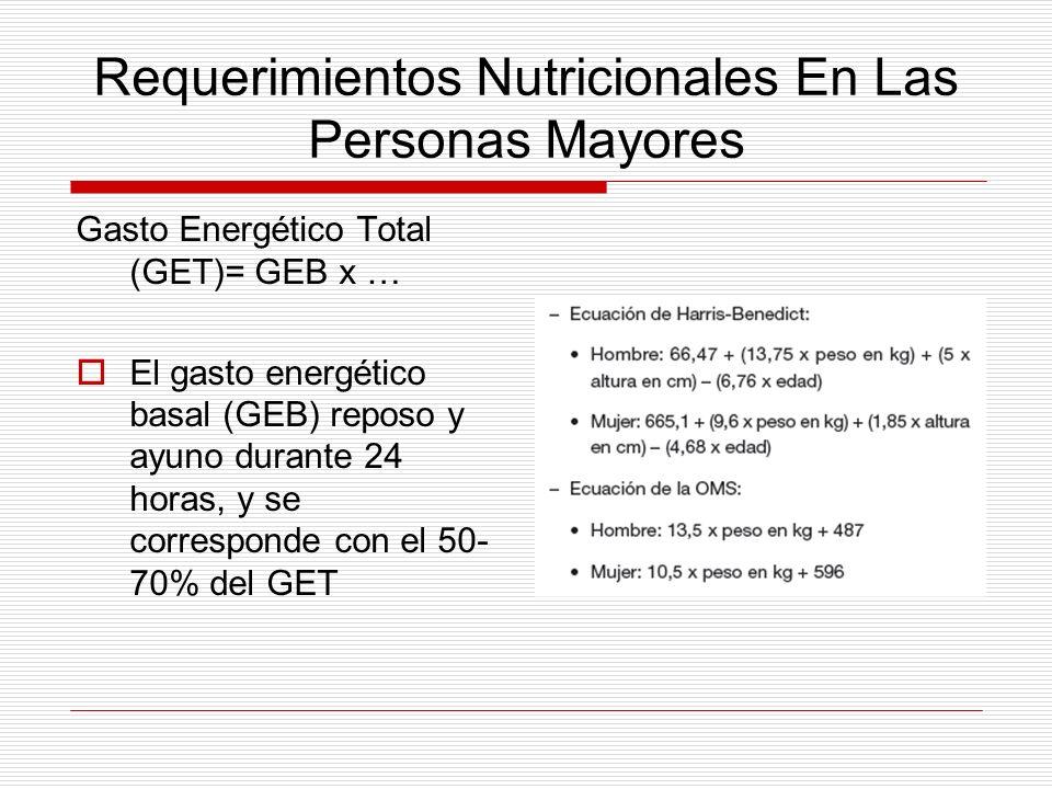 Requerimientos Nutricionales En Las Personas Mayores Gasto Energético Total (GET)= GEB x … El gasto energético basal (GEB) reposo y ayuno durante 24 h