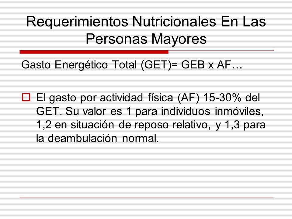 Requerimientos Nutricionales En Las Personas Mayores Gasto Energético Total (GET)= GEB x AF… El gasto por actividad física (AF) 15-30% del GET. Su val