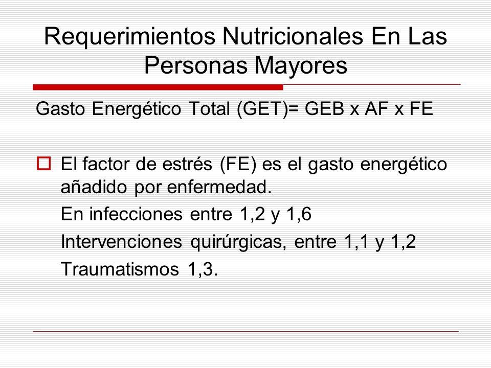 Requerimientos Nutricionales En Las Personas Mayores Gasto Energético Total (GET)= GEB x AF x FE El factor de estrés (FE) es el gasto energético añadi