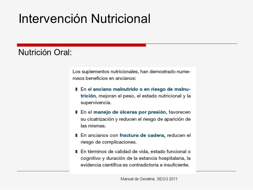 Intervención Nutricional Nutrición Oral: Manual de Geriatria, SEGG 2011
