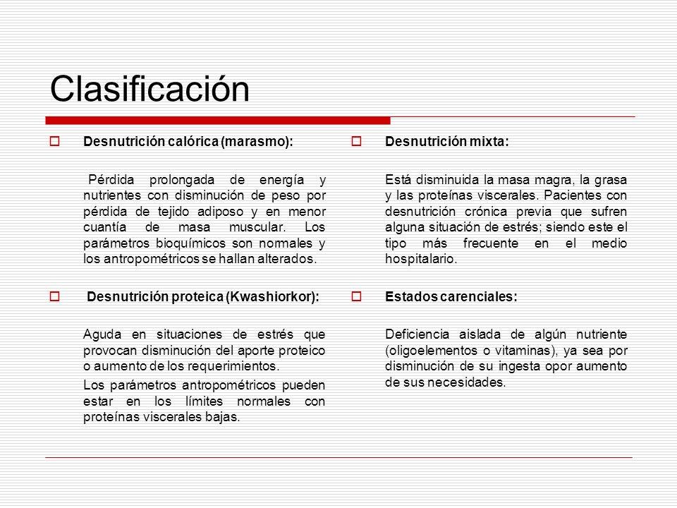 Clasificación Desnutrición calórica (marasmo): Pérdida prolongada de energía y nutrientes con disminución de peso por pérdida de tejido adiposo y en m