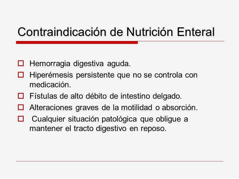 Contraindicación de Nutrición Enteral Hemorragia digestiva aguda. Hiperémesis persistente que no se controla con medicación. Fístulas de alto débito d