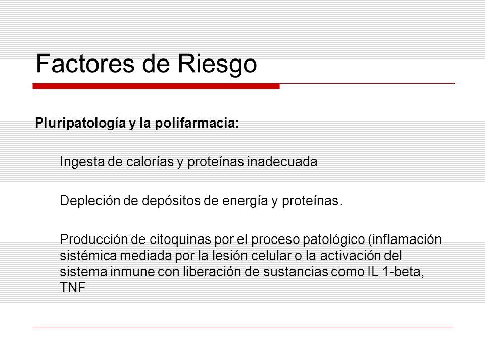 Factores de Riesgo Pluripatología y la polifarmacia: Ingesta de calorías y proteínas inadecuada Depleción de depósitos de energía y proteínas. Producc