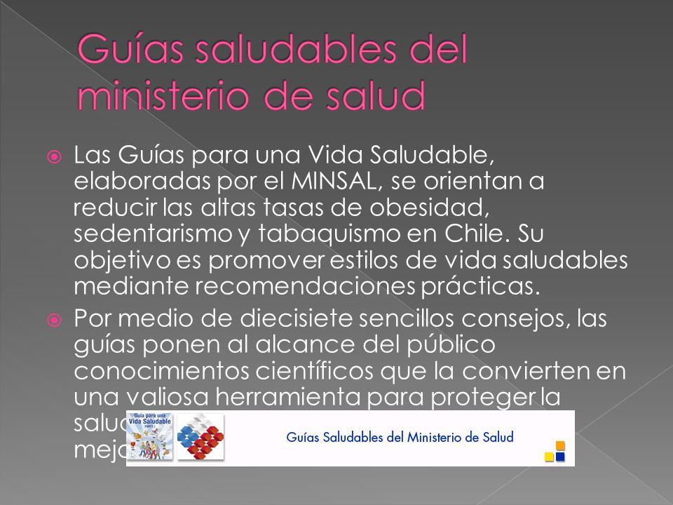 Las Guías para una Vida Saludable, elaboradas por el MINSAL, se orientan a reducir las altas tasas de obesidad, sedentarismo y tabaquismo en Chile.