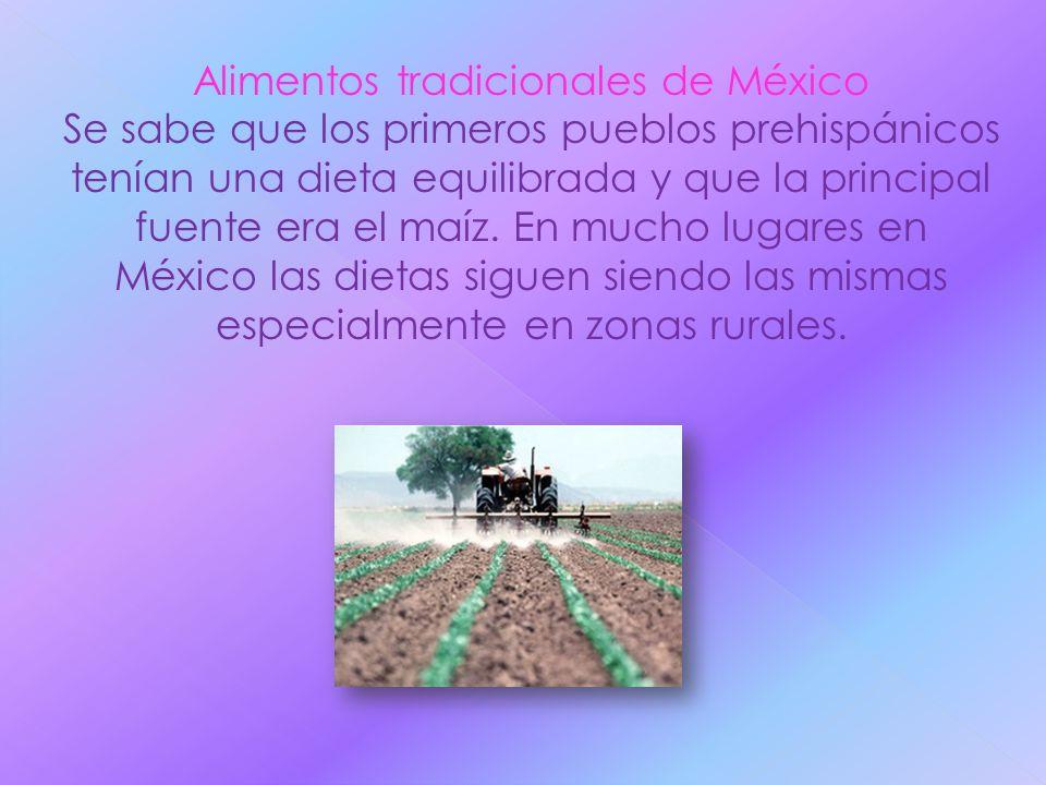 Alimentos tradicionales de México Se sabe que los primeros pueblos prehispánicos tenían una dieta equilibrada y que la principal fuente era el maíz. E