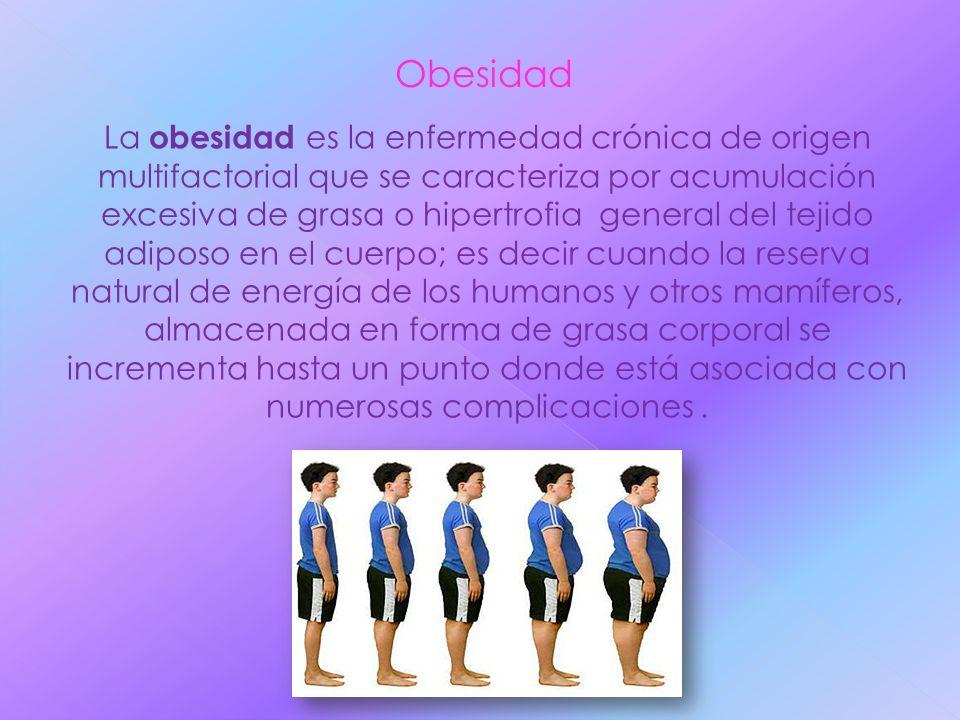 Obesidad La obesidad es la enfermedad crónica de origen multifactorial que se caracteriza por acumulación excesiva de grasa o hipertrofia general del
