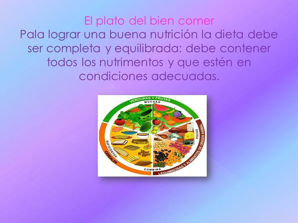 El plato del bien comer Pala lograr una buena nutrición la dieta debe ser completa y equilibrada: debe contener todos los nutrimentos y que estén en c