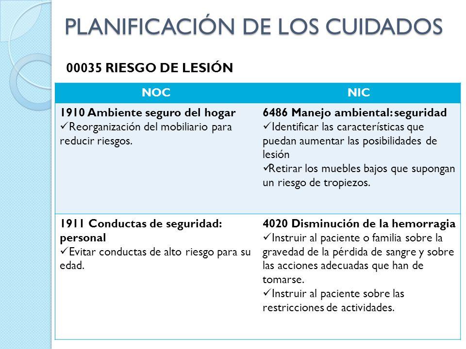 00035 RIESGO DE LESIÓN NOCNIC 1910 Ambiente seguro del hogar Reorganización del mobiliario para reducir riesgos. 6486 Manejo ambiental: seguridad Iden