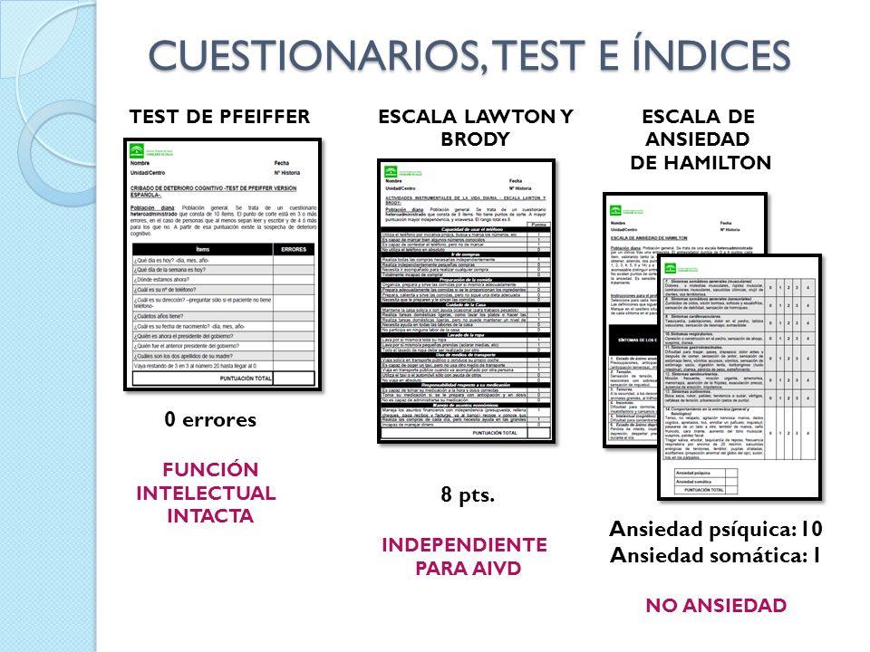 CUESTIONARIOS, TEST E ÍNDICES TEST DE PFEIFFERESCALA DE ANSIEDAD DE HAMILTON ESCALA LAWTON Y BRODY 0 errores FUNCIÓN INTELECTUAL INTACTA 8 pts. INDEPE