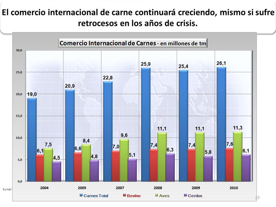 Sumário 2005-2010 updated jun 2010.xlsx El comercio internacional de carne continuará creciendo, mismo si sufre retrocesos en los años de crisis. 23