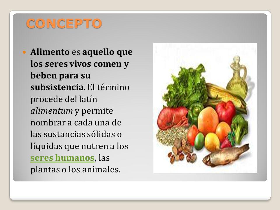 CONCEPTO Alimento es aquello que los seres vivos comen y beben para su subsistencia. El término procede del latín alimentum y permite nombrar a cada u