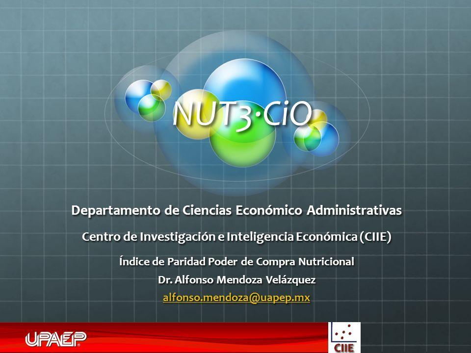 NUT3·CiO Departamento de Ciencias Económico Administrativas Centro de Investigación e Inteligencia Económica (CIIE) Índice de Paridad Poder de Compra Nutricional Dr.