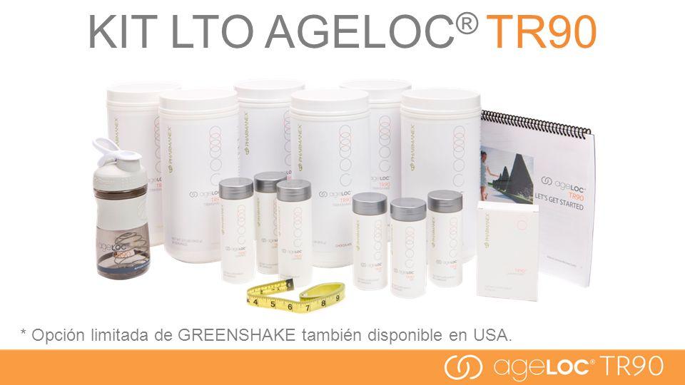 * Opción limitada de GREENSHAKE también disponible en USA. KIT LTO AGELOC ® TR90