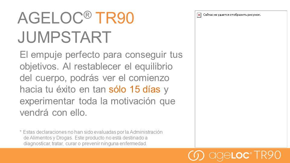 AGELOC ® TR90 JUMPSTART El empuje perfecto para conseguir tus objetivos. Al restablecer el equilibrio del cuerpo, podrás ver el comienzo hacia tu éxit
