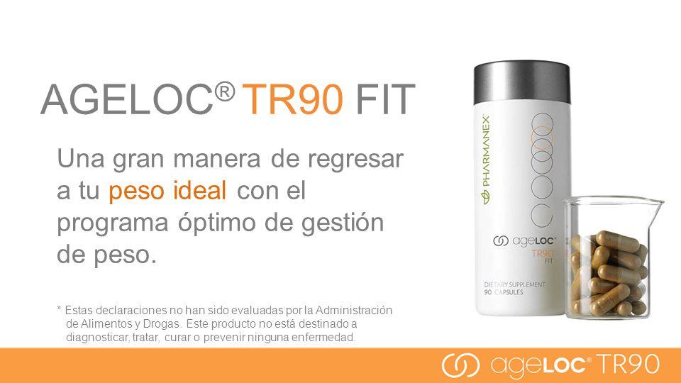 AGELOC ® TR90 FIT Una gran manera de regresar a tu peso ideal con el programa óptimo de gestión de peso. * Estas declaraciones no han sido evaluadas p