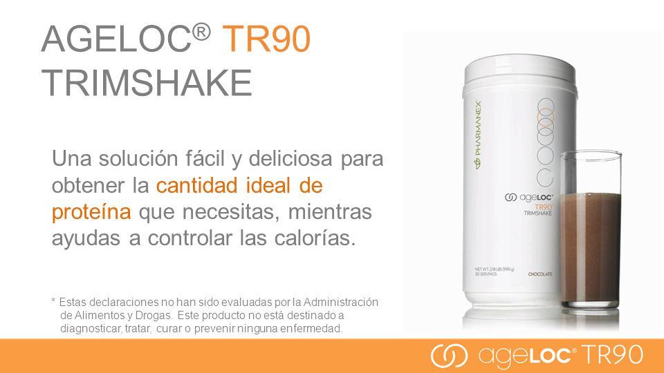 AGELOC ® TR90 TRIMSHAKE Una solución fácil y deliciosa para obtener la cantidad ideal de proteína que necesitas, mientras ayudas a controlar las calor
