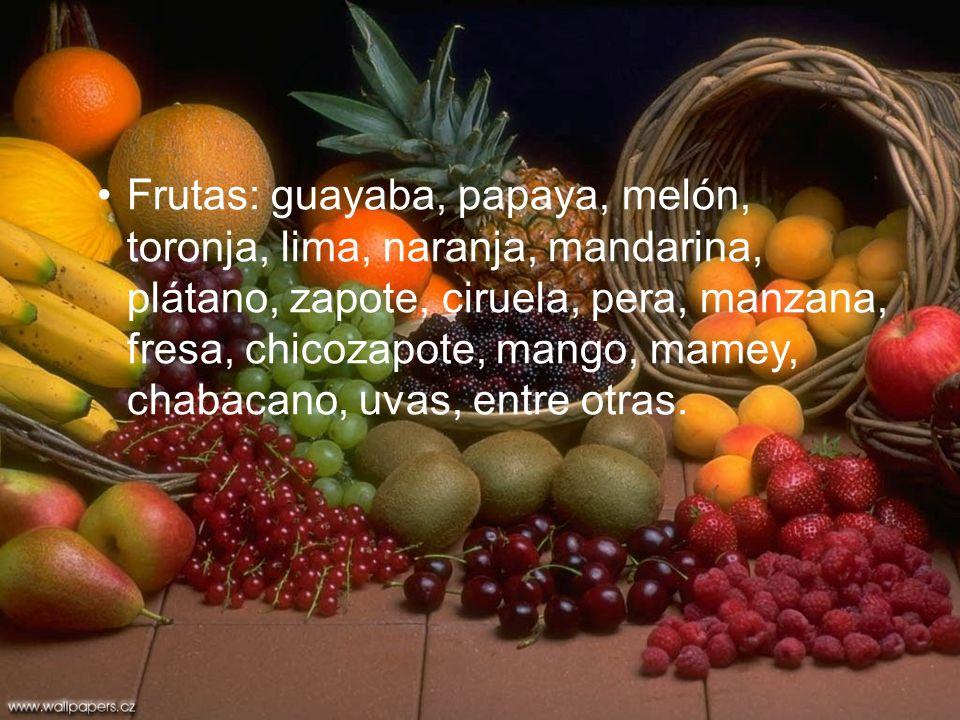 Frutas: guayaba, papaya, melón, toronja, lima, naranja, mandarina, plátano, zapote, ciruela, pera, manzana, fresa, chicozapote, mango, mamey, chabacan