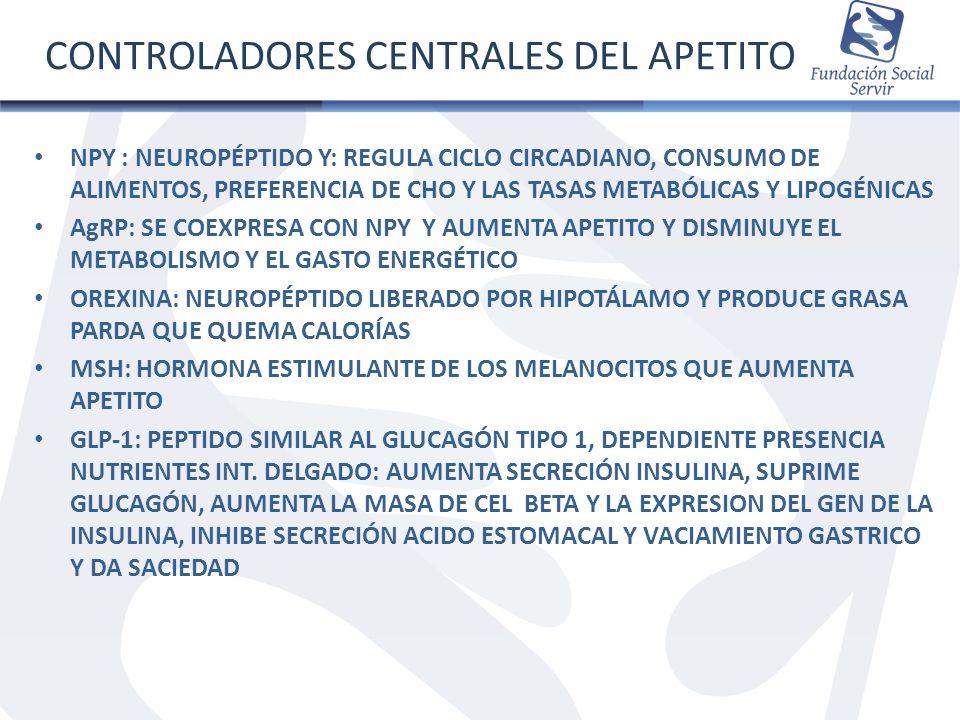 CONTROLADORES CENTRALES DEL APETITO NPY : NEUROPÉPTIDO Y: REGULA CICLO CIRCADIANO, CONSUMO DE ALIMENTOS, PREFERENCIA DE CHO Y LAS TASAS METABÓLICAS Y