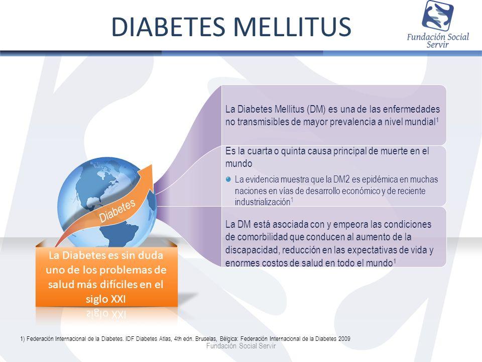 Fundación Social Servir La Diabetes Mellitus (DM) es una de las enfermedades no transmisibles de mayor prevalencia a nivel mundial 1 Es la cuarta o qu
