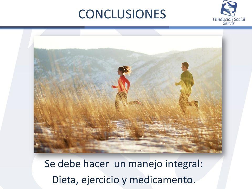CONCLUSIONES Se debe hacer un manejo integral: Dieta, ejercicio y medicamento.