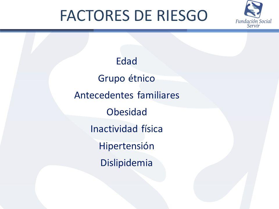 Edad Grupo étnico Antecedentes familiares Obesidad Inactividad física Hipertensión Dislipidemia FACTORES DE RIESGO