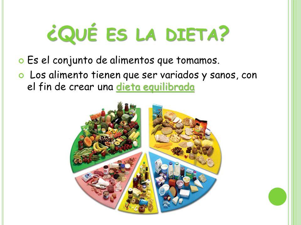 ¿Q UÉ ES LA DIETA ? Es el conjunto de alimentos que tomamos. dieta equilibrada Los alimento tienen que ser variados y sanos, con el fin de crear una d