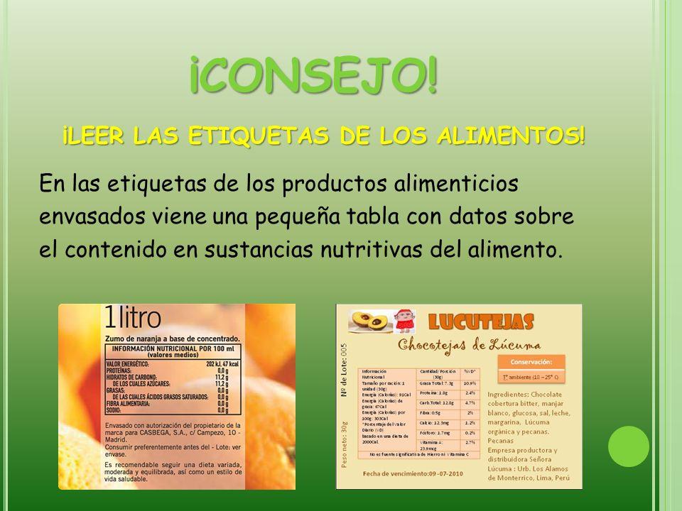 ¡CONSEJO! ¡LEER LAS ETIQUETAS DE LOS ALIMENTOS! En las etiquetas de los productos alimenticios envasados viene una pequeña tabla con datos sobre el co