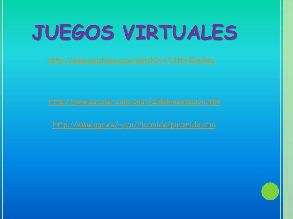 JUEGOS VIRTUALES http://www.youtube.com/watch?v=TUtfyJhw9og http://www.escolar.com/cnat/a14alimentacion.htm http://www.ugr.es/~scu/Piramide/piramide.h