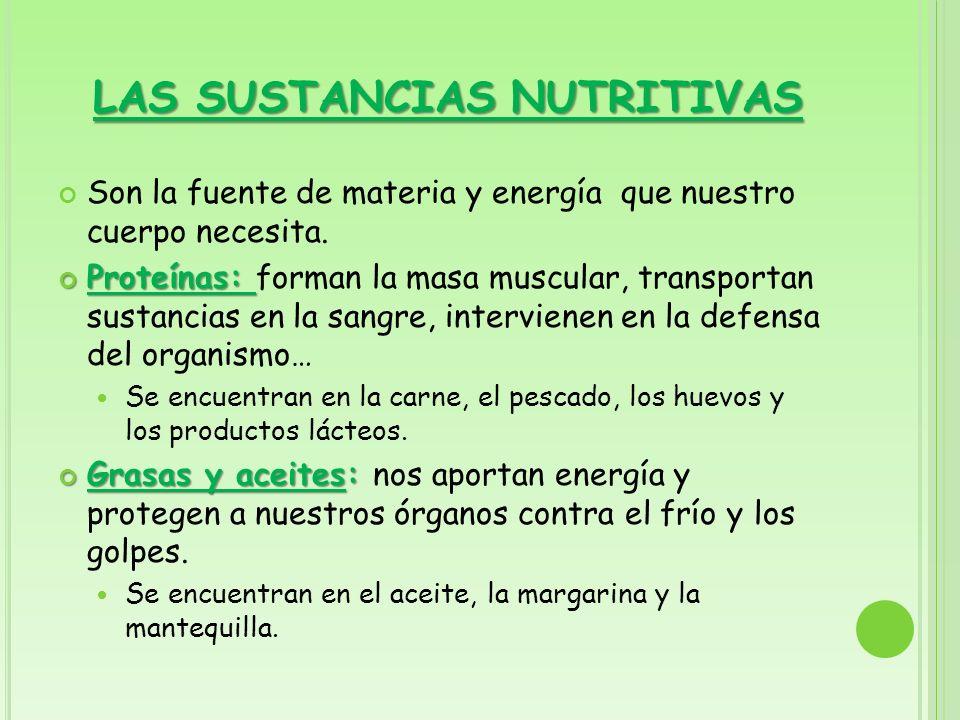 LAS SUSTANCIAS NUTRITIVAS Son la fuente de materia y energía que nuestro cuerpo necesita. Proteínas: Proteínas: forman la masa muscular, transportan s