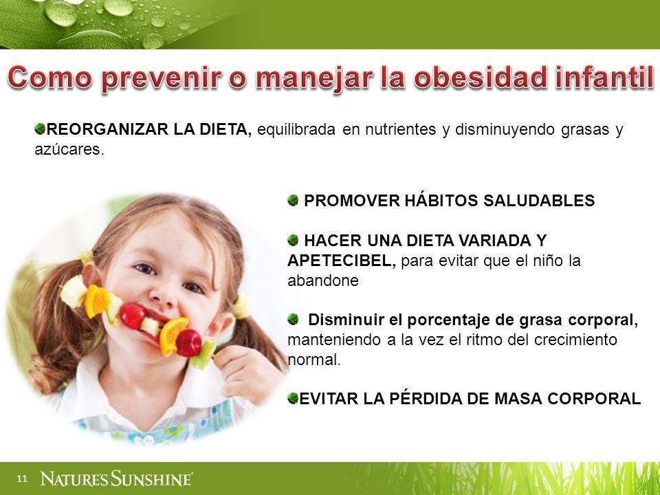 11 REORGANIZAR LA DIETA, equilibrada en nutrientes y disminuyendo grasas y azúcares.
