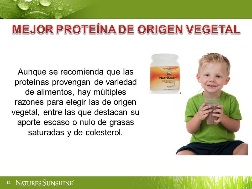 14 Aunque se recomienda que las proteínas provengan de variedad de alimentos, hay múltiples razones para elegir las de origen vegetal, entre las que destacan su aporte escaso o nulo de grasas saturadas y de colesterol.