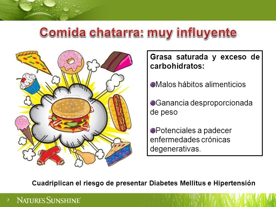7 Grasa saturada y exceso de carbohidratos: Malos hábitos alimenticios Ganancia desproporcionada de peso Potenciales a padecer enfermedades crónicas degenerativas.