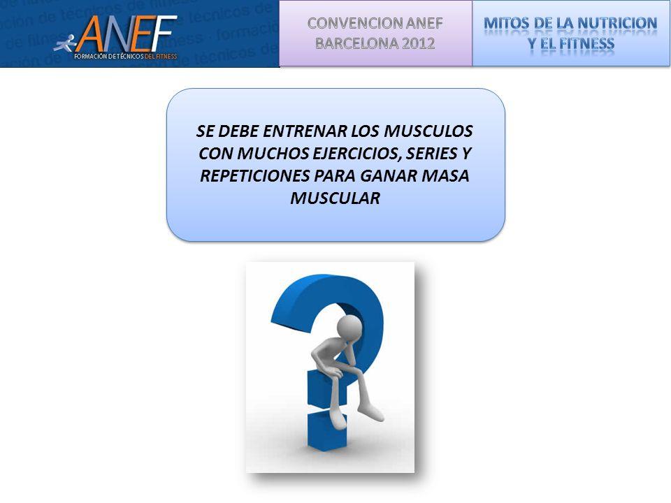 MUSLOSMUSLOSMUSLOSMUSLOS BRAZOSBRAZOSBRAZOSBRAZOS El volumen de entrenamiento se refiere al total de trabajo realizado por Grupo Muscular (GM).
