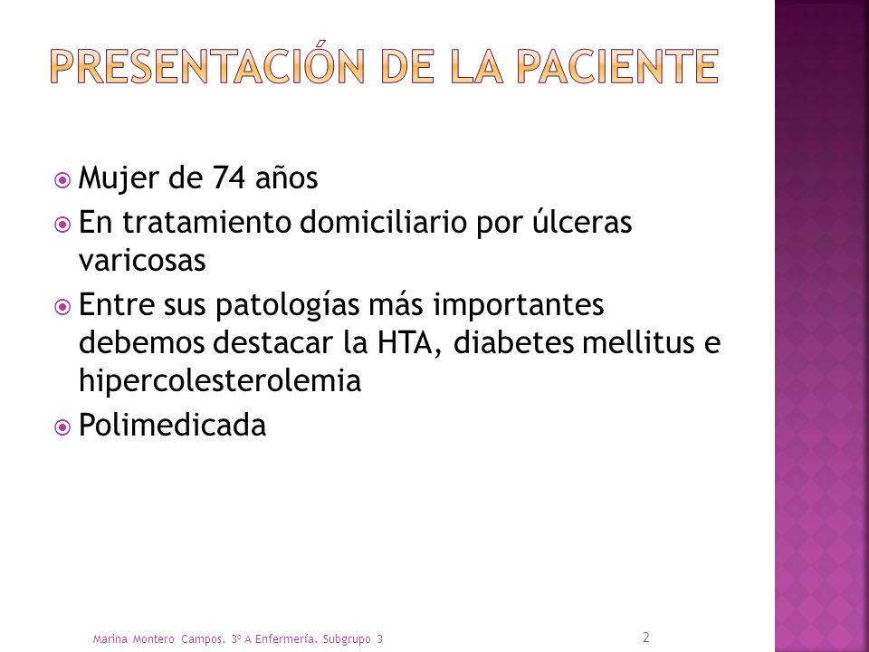Mujer de 74 años En tratamiento domiciliario por úlceras varicosas Entre sus patologías más importantes debemos destacar la HTA, diabetes mellitus e hipercolesterolemia Polimedicada Marina Montero Campos.