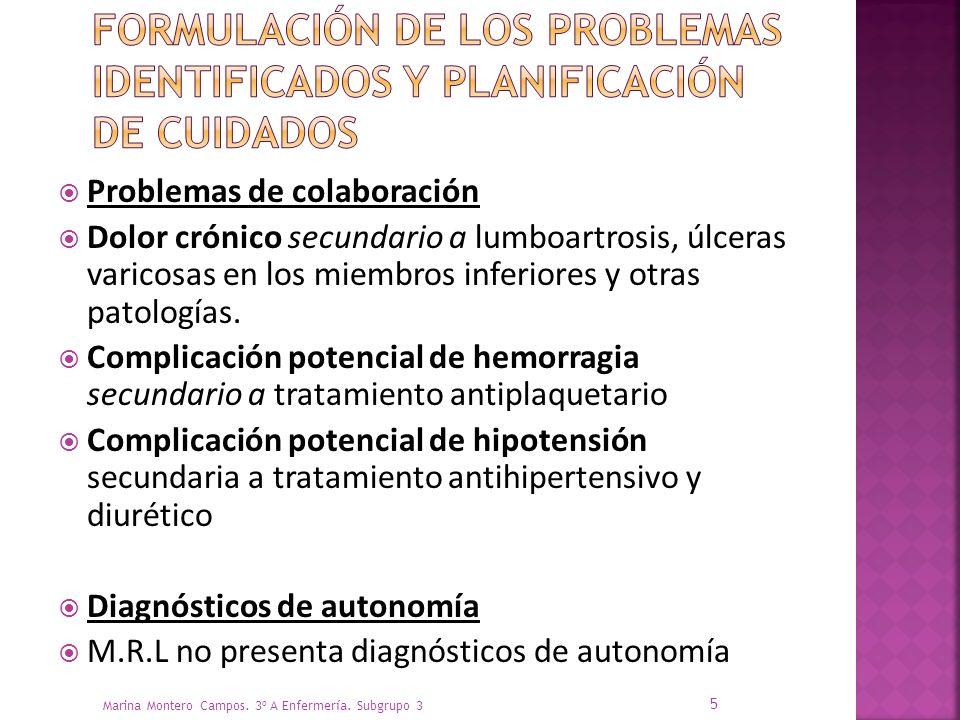Problemas de colaboración Dolor crónico secundario a lumboartrosis, úlceras varicosas en los miembros inferiores y otras patologías.