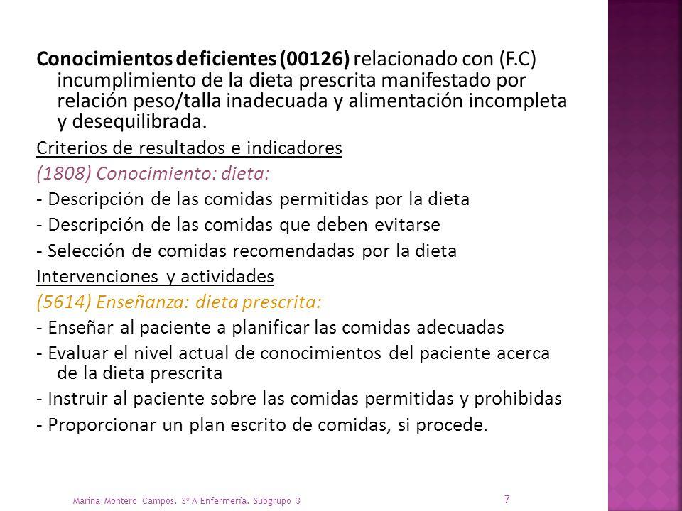 Conocimientos deficientes (00126) relacionado con (F.C) incumplimiento de la dieta prescrita manifestado por relación peso/talla inadecuada y alimentación incompleta y desequilibrada.