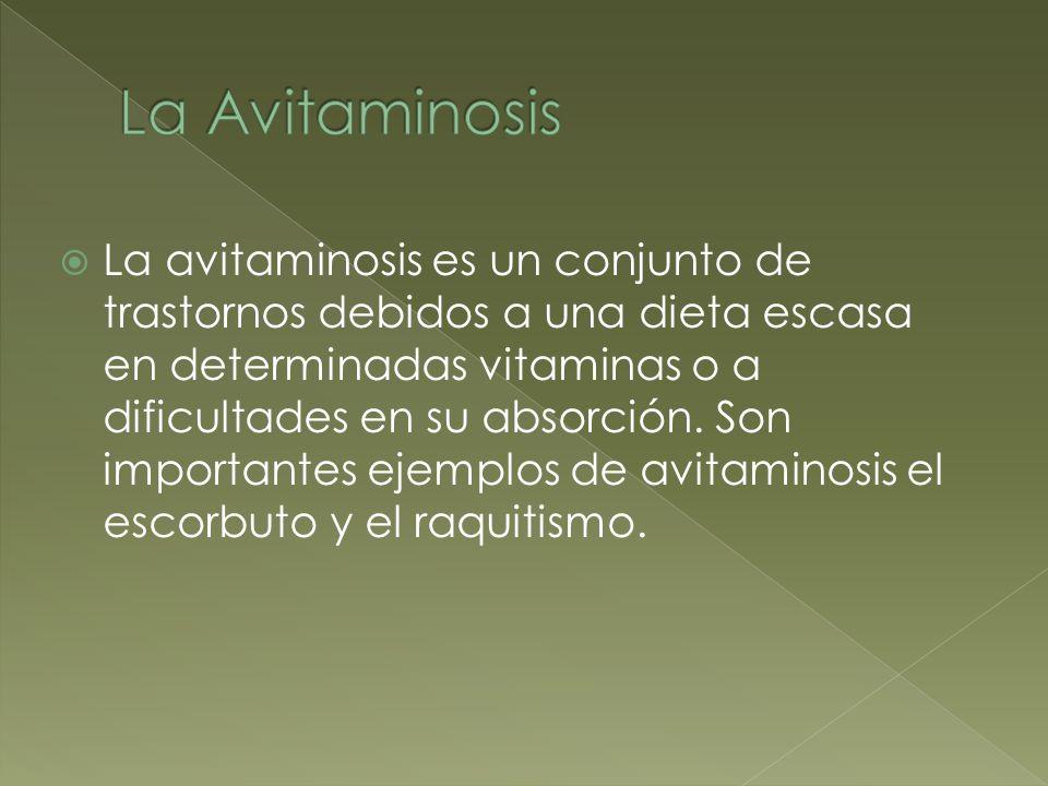 La avitaminosis es un conjunto de trastornos debidos a una dieta escasa en determinadas vitaminas o a dificultades en su absorción. Son importantes ej