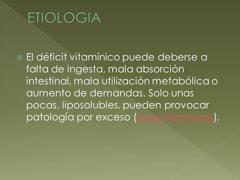 El déficit vitamínico puede deberse a falta de ingesta, mala absorción intestinal, mala utilización metabólica o aumento de demandas. Solo unas pocas,