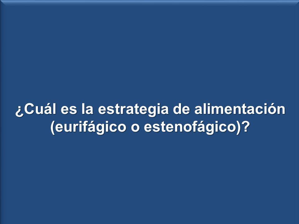 Presa i respecto al total de presas N° de presas ¿Cuál es el hábito alimentario (eurifágico o estenofágico).