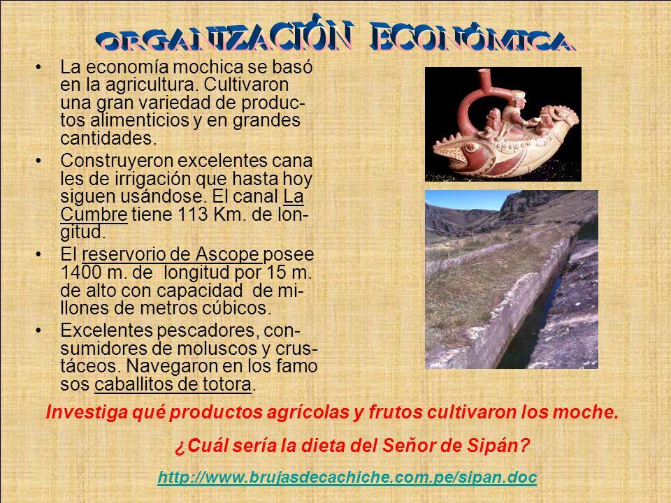 Investiga qué productos agrícolas y frutos cultivaron los moche. ¿Cuál sería la dieta del Seňor de Sipán? http://www.brujasdecachiche.com.pe/sipan.doc