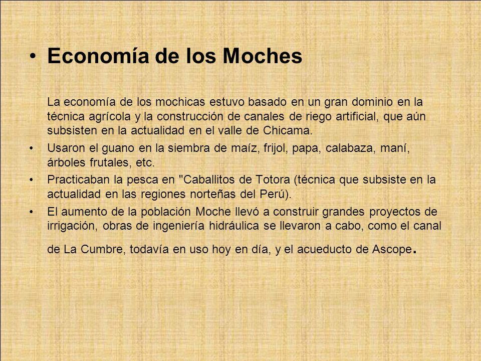 Economía de los Moches La economía de los mochicas estuvo basado en un gran dominio en la técnica agrícola y la construcción de canales de riego artif