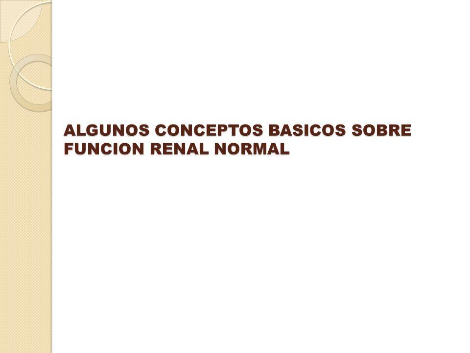 ALGUNOS CONCEPTOS BASICOS SOBRE FUNCION RENAL NORMAL